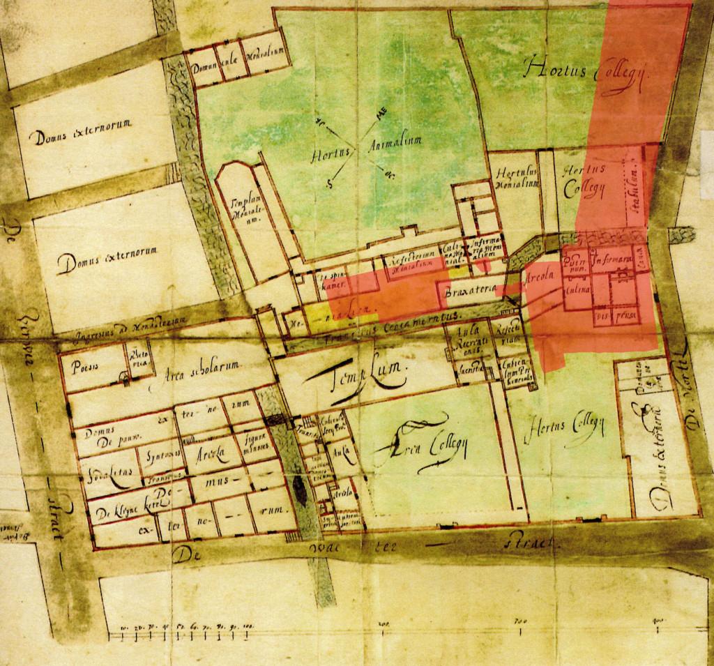 Plattegrond van het Jezuïetencollege uit 1629. In rood zijn de opgravingsputten aangegeven.